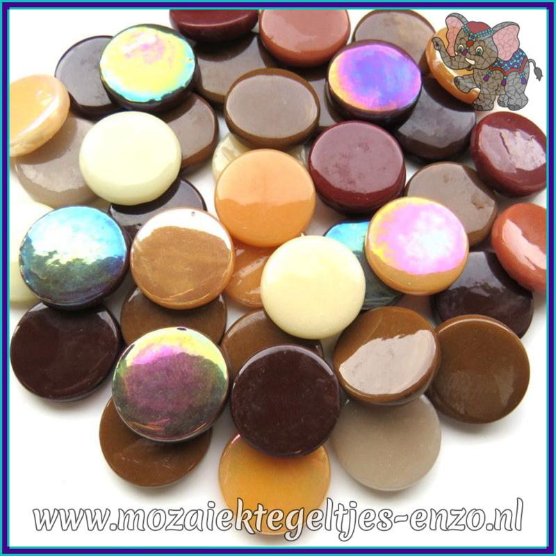 Glasmozaiek steentjes - Penny Rounds Normaal en Parelmoer - 18 mm - Gemixte Kleuren - per 50 gram - Brown Cow