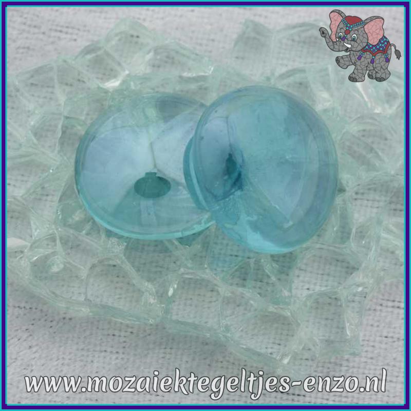 Glasmozaiek steentjes - Glasnuggets/Glasstenen Parelmoer - 18/22 mm - Enkele Kleuren - per 10 stuks - Turquoise Transparent Opalescent