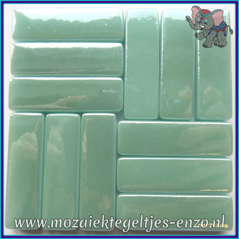 Glasmozaiek steentjes - Stix Rechthoekjes Staafjes XL Parelmoer - 12 x 38 mm - Enkele Kleuren - per 50 gram - Pale Teal