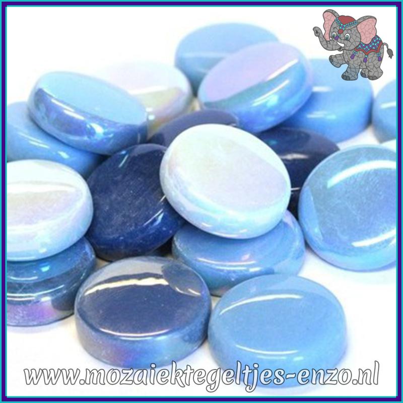 Glasmozaiek steentjes - Optic Drops Normaal en Parelmoer - 20 mm - Gemixte Kleuren - per 50 gram - Turquoise Oase