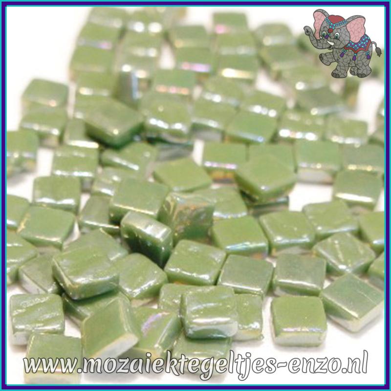 Glasmozaiek Pixel steentjes - Ottoman Parelmoer - 0,8 x 0,8 cm - Enkele Kleuren - per 50 gram - Light Olive