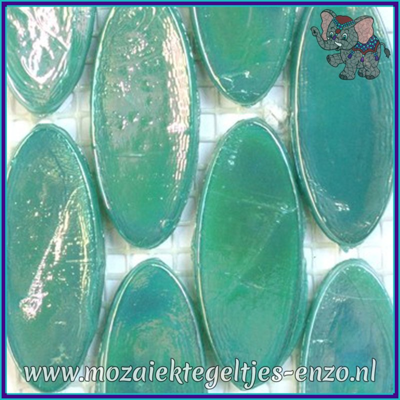 Glasmozaiek steentjes - Radiant Ellipse Parelmoer - 20 x 45 mm - Enkele Kleuren - per 1 stuk - Borneo