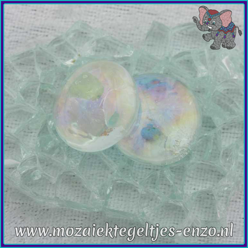 Glasmozaiek steentjes - Glasnuggets/Glasstenen Parelmoer - 18/22 mm - Enkele Kleuren - per 10 stuks - Transparent Opalescent