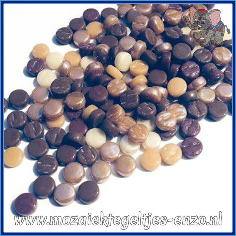 Glasmozaiek Pixel steentjes - Darling Dotz Normaal - 0,8 cm - Gemixte Kleuren - per 50 gram - Chocolate Ganache