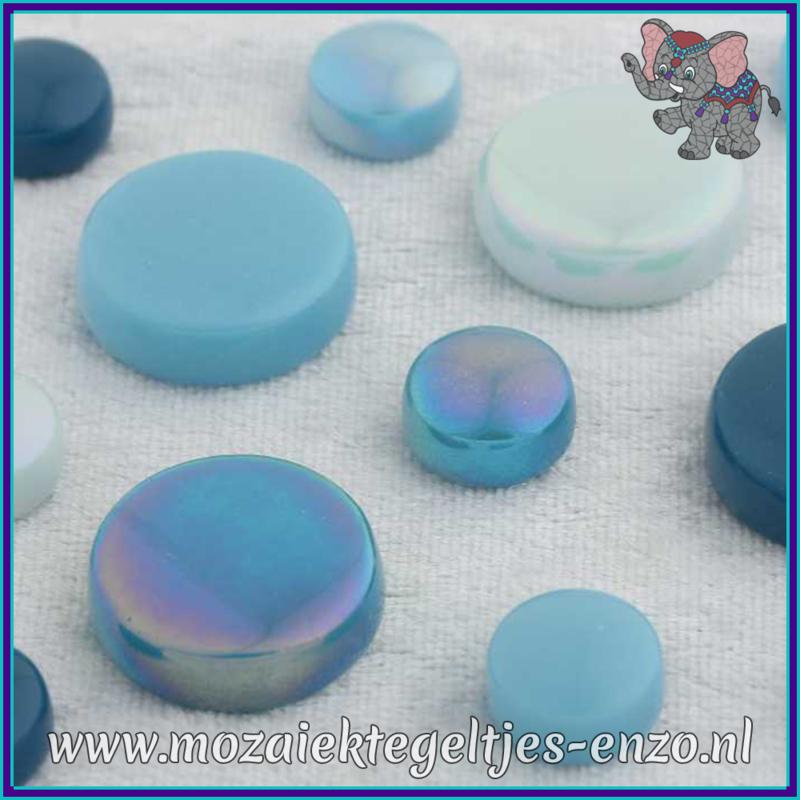 Glasmozaiek steentjes - Optic Drops Normaal en Parelmoer - 12 en 20 mm - Gemixte Kleuren - per 50 gram - Turquoise Oase