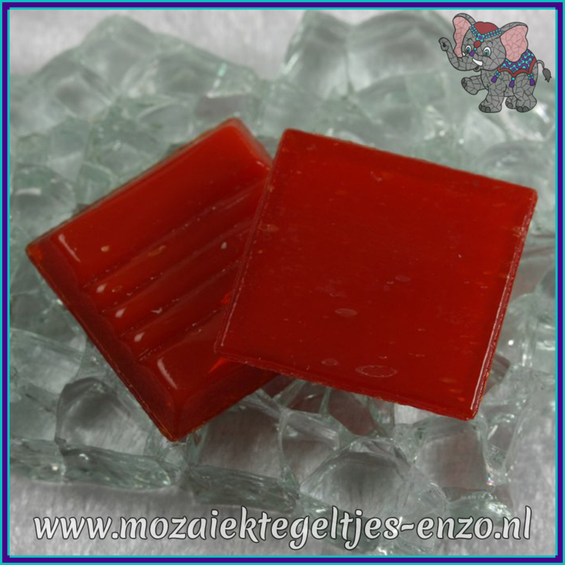 Glasmozaiek tegeltjes - Basic Line - 2 x 2 cm - Enkele Kleuren - per 20 steentjes - Red A96