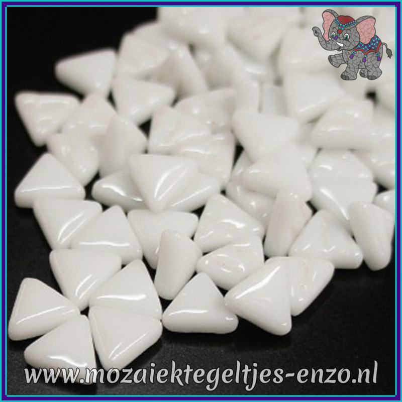Glasmozaiek steentjes - Art Angles Normaal - 10 mm - Enkele Kleuren - per 50 gram - Opal White