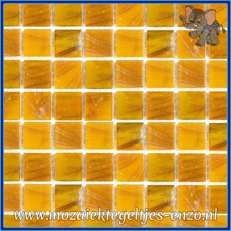 Glasmozaiek tegeltjes - Gold Line - 2 x 2 cm - Enkele Kleuren - per 20 steentjes - Ochre Brass