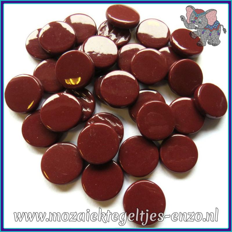 Glasmozaiek steentjes - Penny Rounds Normaal - 18 mm - Enkele Kleuren - per 50 gram - Burgundy