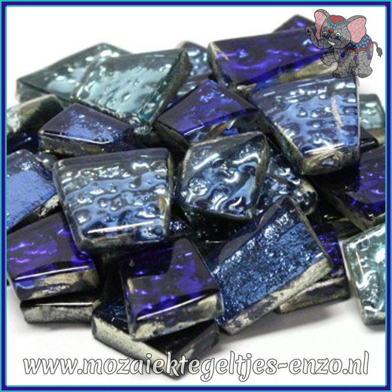 Glasmozaiek steentjes - Moonshine Measures Normaal - Gemixte Kleuren - per 50 gram - Triton Blue