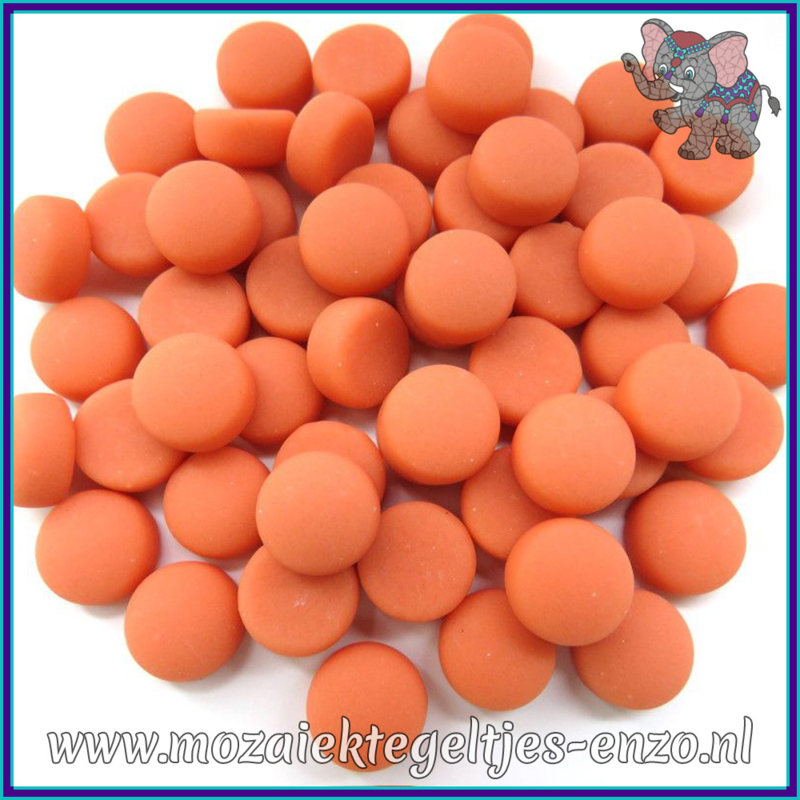 Glasmozaiek steentjes - Optic Drops Matte - 12 mm - Enkele Kleuren - per 50 gram - Peach