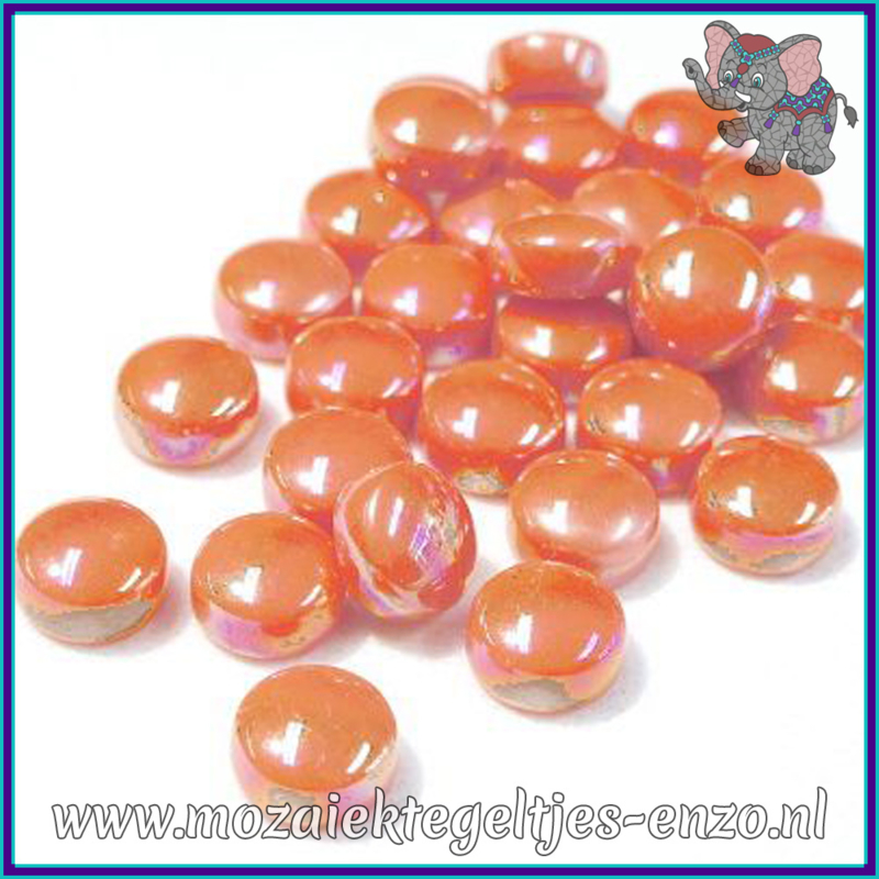 Glasmozaiek steentjes - Optic Drops Parelmoer - 12 mm - Enkele Kleuren - per 50 gram - Orange Opal