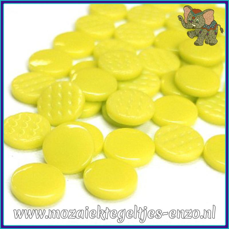 Glasmozaiek steentjes - Penny Rounds Normaal - 18 mm - Enkele Kleuren - per 50 gram - Yellow Green