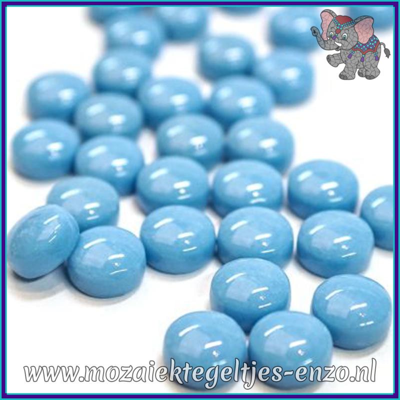 Glasmozaiek steentjes - Optic Drops Normaal - 12 mm - Enkele Kleuren - per 50 gram - Turquoise