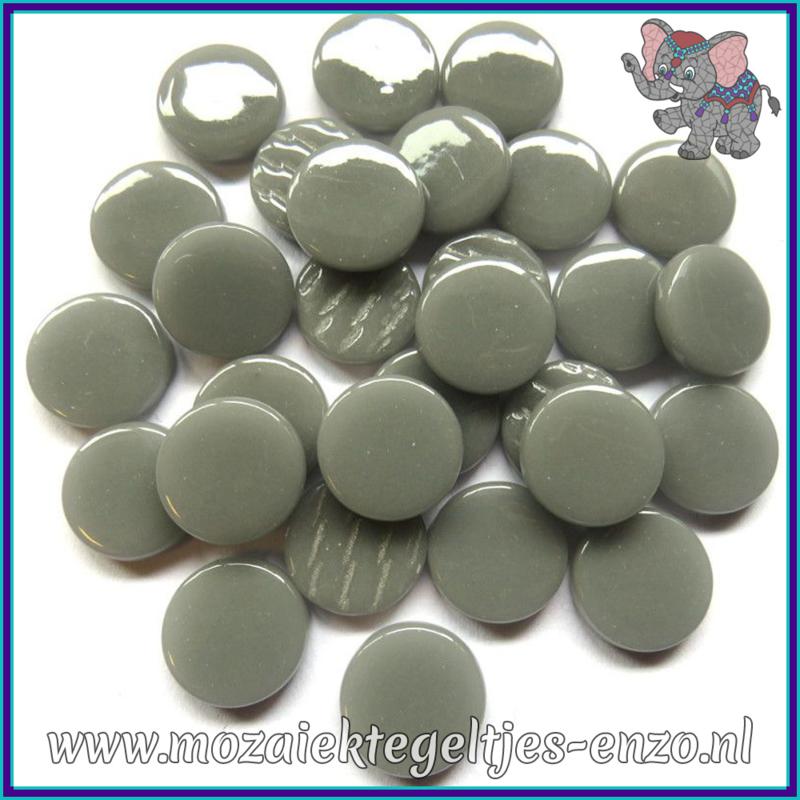 Glasmozaiek steentjes - Penny Rounds Normaal - 18 mm - Enkele Kleuren - per 50 gram - Mid Grey
