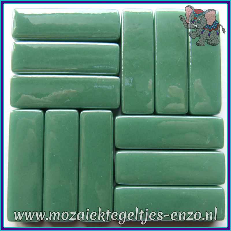 Glasmozaiek steentjes - Stix Rechthoekjes Staafjes XL Parelmoer - 12 x 38 mm - Enkele Kleuren - per 50 gram - Mid Teal
