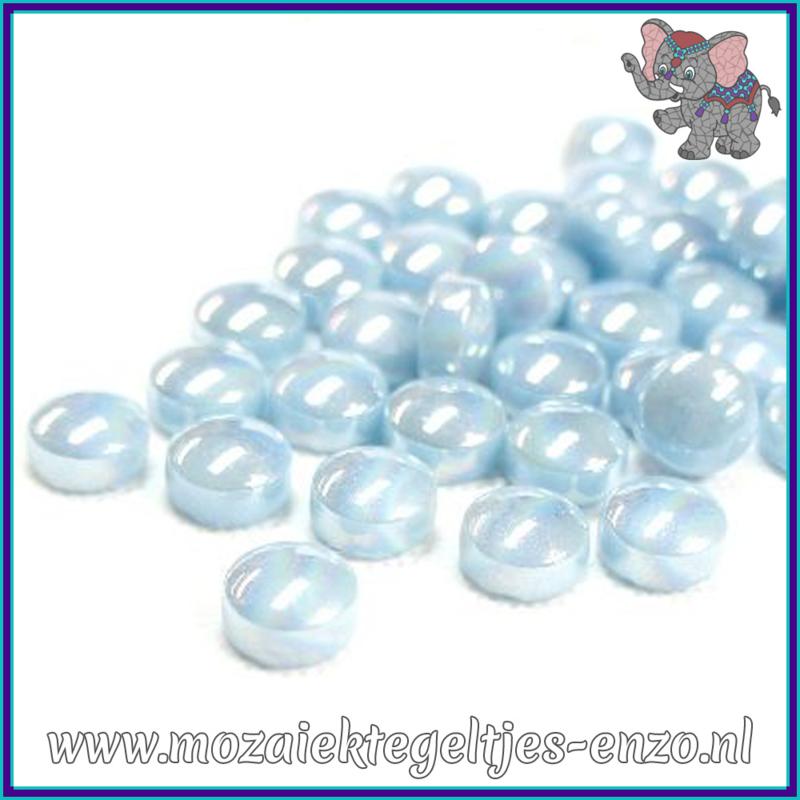 Glasmozaiek steentjes - Optic Drops Parelmoer - 12 mm - Enkele Kleuren - per 50 gram - Aqua