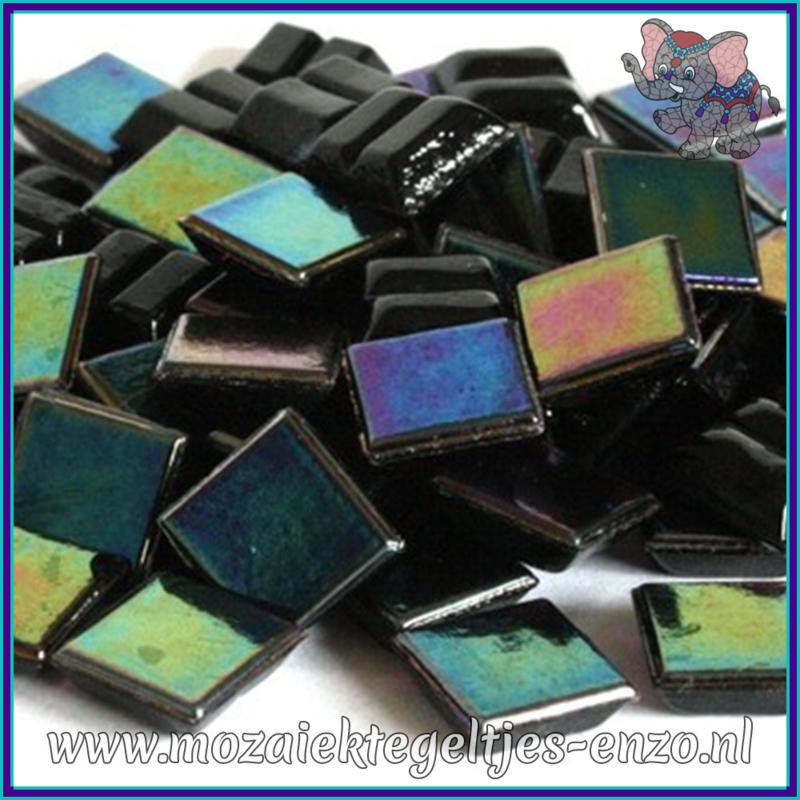 Glasmozaiek tegeltjes - Parelmoer - 1 x 1 cm - Enkele Kleuren - per 60 steentjes - Mini Jet Black