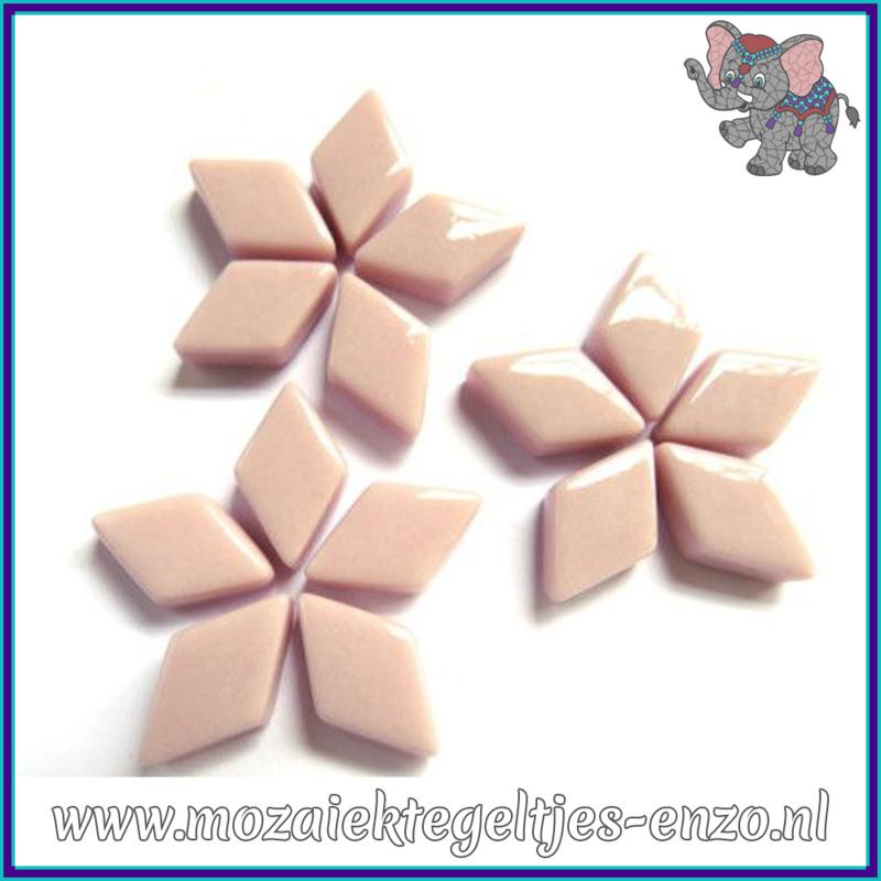 Glasmozaiek steentjes - Diamonds Ruitjes Wiebertjes Normaal - 12 x 19 mm - Enkele Kleuren - per 50 gram - Rose Petal