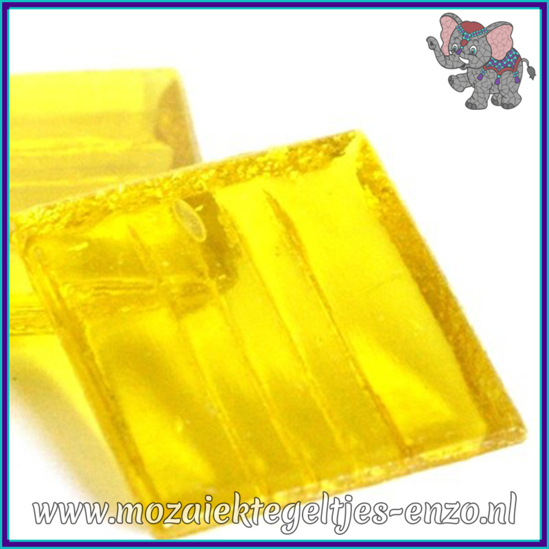 Glasmozaiek tegeltjes - Doorzichtig - 2 x 2 cm - Enkele Kleuren - per 20 steentjes - Yellow