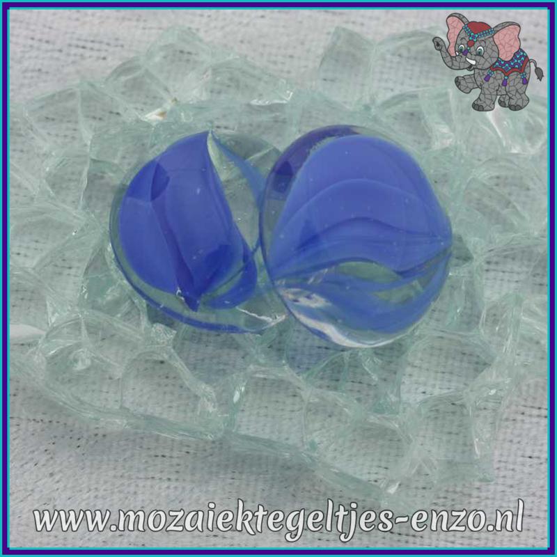 Glasmozaiek steentjes - Glasnuggets/Glasstenen Parelmoer - 18/22 mm - Enkele Kleuren - per 10 stuks - Eye Cat Blue