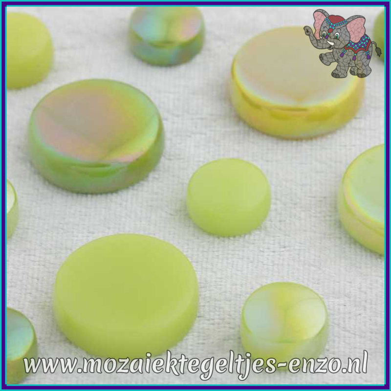 Glasmozaiek steentjes - Optic Drops Normaal en Parelmoer - 12 en 20 mm - Gemixte Kleuren - per 50 gram - Green with Envy