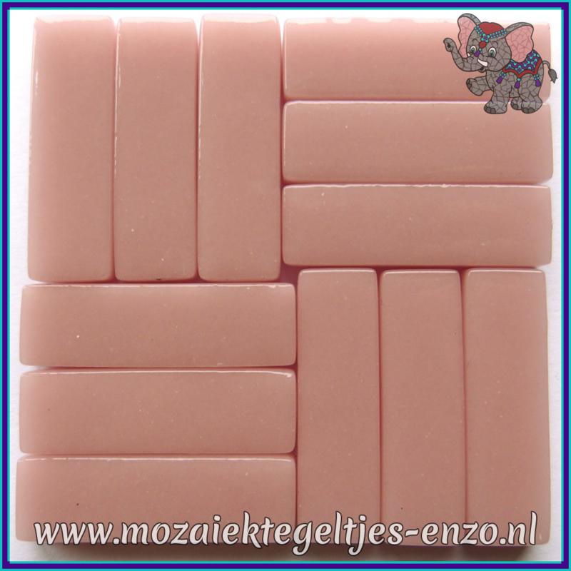 Glasmozaiek steentjes - Stix Rechthoekjes Staafjes XL Normaal - 12 x 38 mm - Enkele Kleuren - per 50 gram - Rose Petal