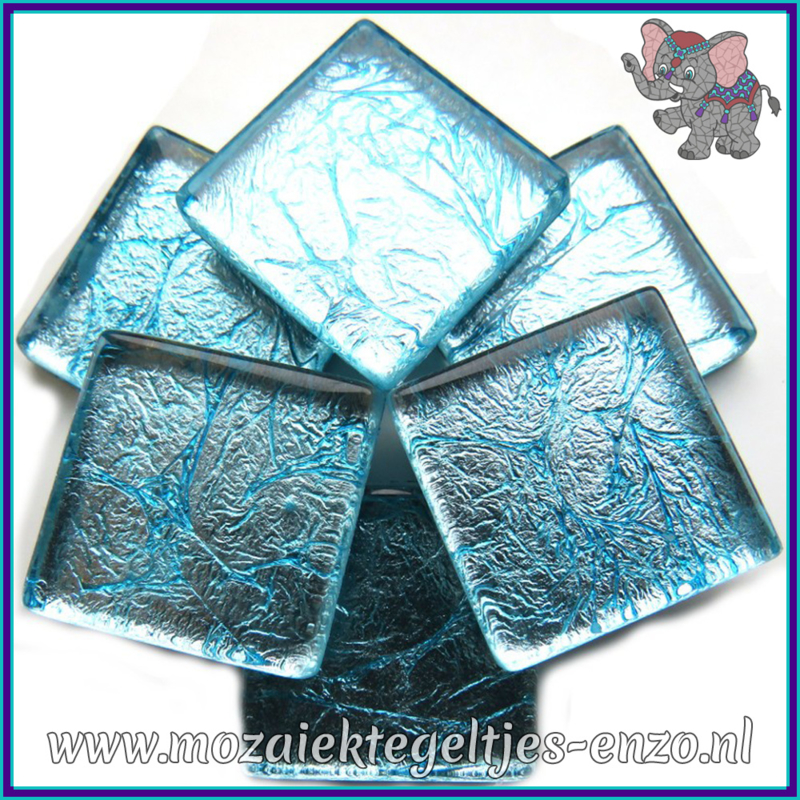 Glasmozaiek tegeltjes - Foil - 2 x 2 cm - Enkele Kleuren - per 20 steentjes - Aqua