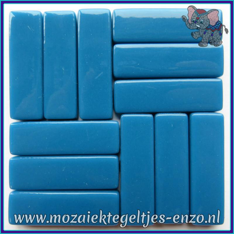 Glasmozaiek steentjes - Stix Rechthoekjes Staafjes XL Normaal - 12 x 38 mm - Enkele Kleuren - per 50 gram - Deep Lake Blue