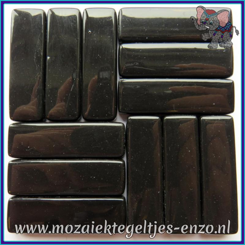 Glasmozaiek steentjes - Stix Rechthoekjes Staafjes XL Normaal - 12 x 38 mm - Enkele Kleuren - per 50 gram - Black