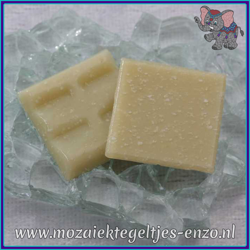 Glasmozaiek tegeltjes - Basic Line - 2 x 2 cm - Enkele Kleuren - per 20 steentjes - Cream A30