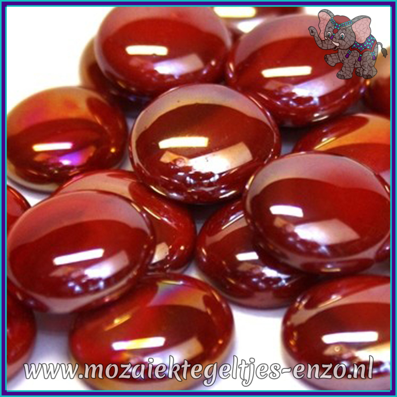 Glasmozaiek steentjes - Glasnuggets/Glasstenen Parelmoer - 18/22 mm - Enkele Kleuren - per 10 stuks - Red Opalescent