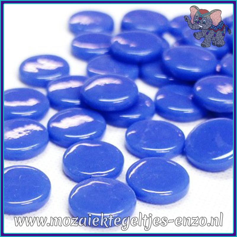 Glasmozaiek steentjes - Penny Rounds Normaal - 18 mm - Enkele Kleuren - per 50 gram - True Blue