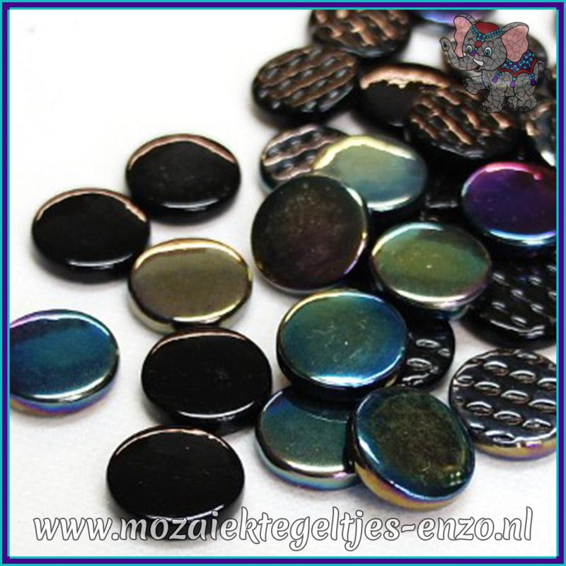 Glasmozaiek steentjes - Penny Rounds Normaal en Parelmoer - 18 mm - Gemixte Kleuren - per 50 gram - Black Magic