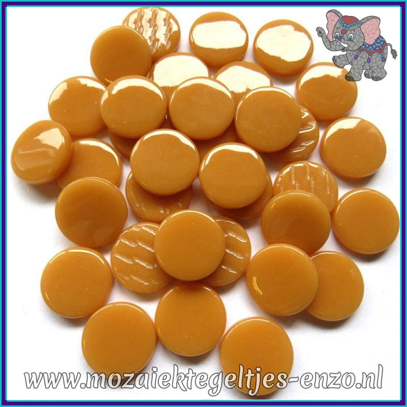 Glasmozaiek steentjes - Penny Rounds Normaal - 18 mm - Enkele Kleuren - per 50 gram - Toffee