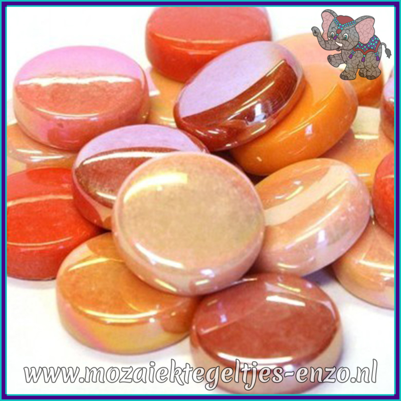 Glasmozaiek steentjes - Optic Drops Normaal en Parelmoer - 20 mm - Gemixte Kleuren - per 50 gram - Rock Orange