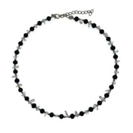 Ketting/ Collier Bergkristal met Onyx
