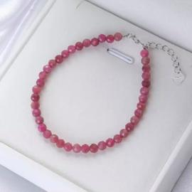 Rubeliet/roze Toermalijn armband, facet geslepen
