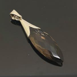 Rookkwarts hanger, 925 zilver Facet geslepen