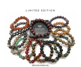 Heren armbanden met edelstenen en Pyriet kristal. Custom Made