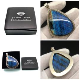 925/000 zilveren hanger met Extra Blue Labradoriet uit Madagaskar