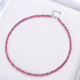 Rubeliet/roze Toermalijn collier, facet geslepen