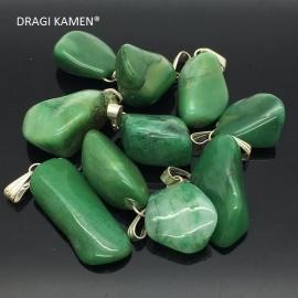 Groene Jade gezondheidshanger met zilveren hangoog.