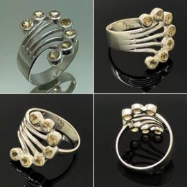 Zilveren ring met 7 facet geslepen Citrien edelstenen, maat 17,5 / 55