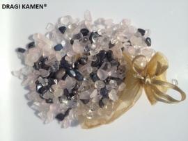 Anti boosheid buidel Bergkristal, Roze kwarts/Rozenkwarts en Hematiet