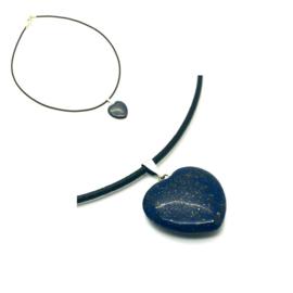Lapis Lazuli hart hanger met leren ketting
