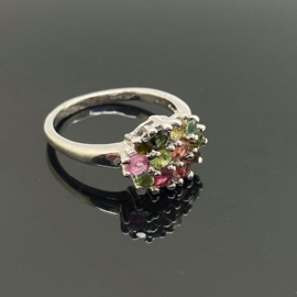 Toermalijn multi ring 18,5 mm/58, 925 zilver