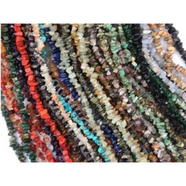 Edelsteen split collier / ketting, 90 cm