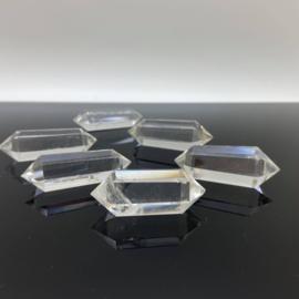 Heldere bergkristal dubbeleinder, geslepen 45-50 mm