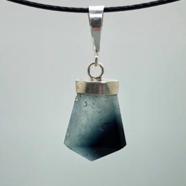 Blauw Toermalijn kristal hanger in zilver
